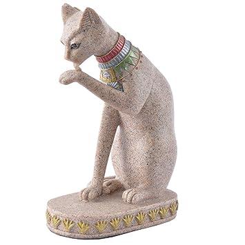 AITELEI Figura Decorativa de Gato Egipcio con Piedra de Arena Tallada a Mano, Head Down: Amazon.es: Hogar
