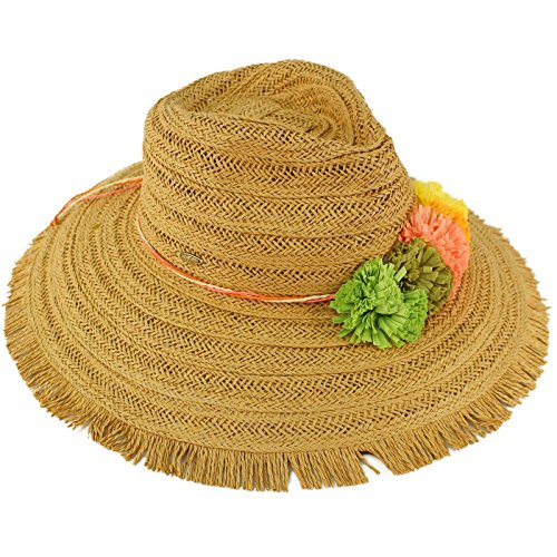 C.C Tahiti Fringe Floral Panama Fedora Floppy Brim 4-1/2 Summer Beach Hat Tan