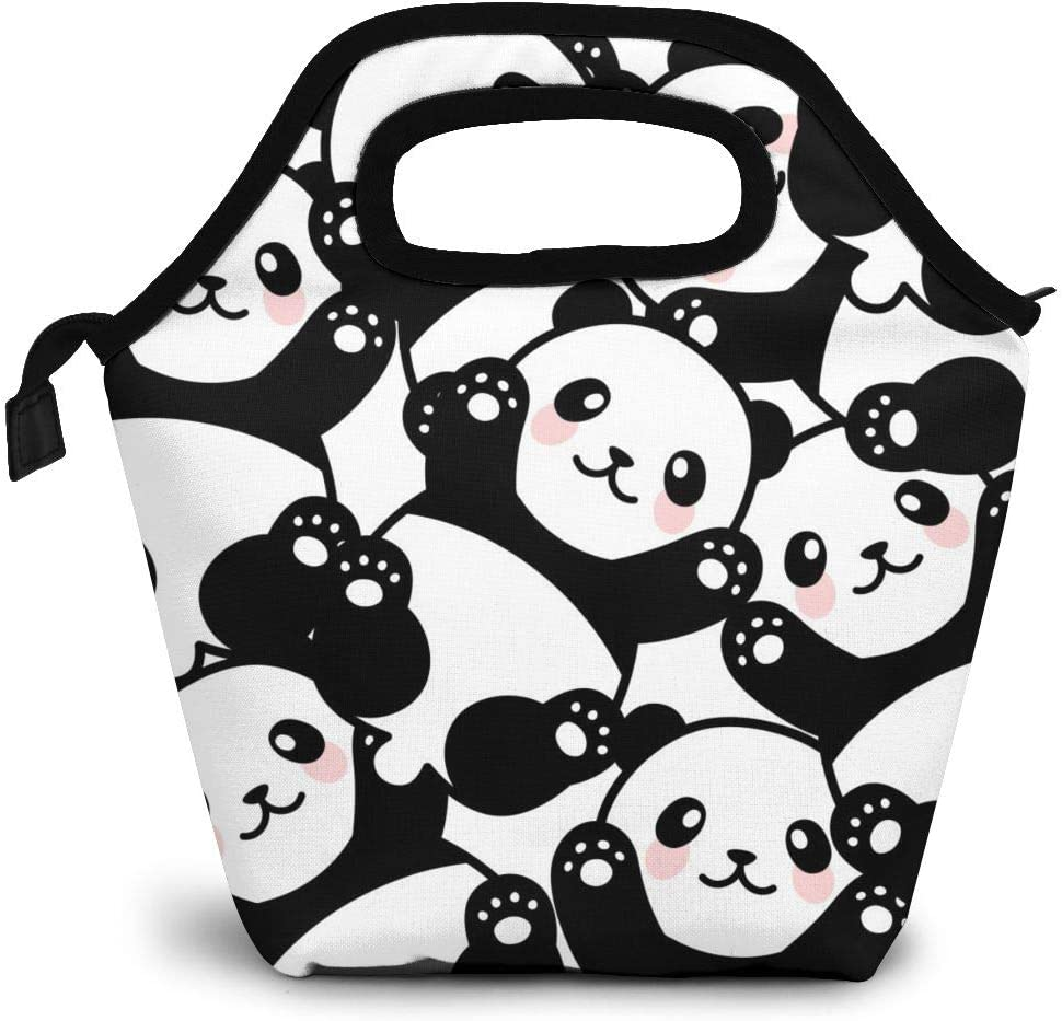 Cute Panda Insulated Lunch Portable Carry Tote Picnic Storage Bag Cartoon Animal Pattern Lunch Box Food Bag Gourmet Handbag Cooler Warm Pouch Tote Bag For Work Office