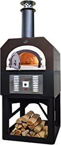 Chicago Brick Oven Natural Gas & Wood-Burning Commercial Outdoor Pizza Oven, CBO-750 Hybrid Stand with Copper Vein Hood