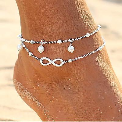 Zoestar Boho - Tobillera doble de perlas de plata para el tobillo con cadena de cuentas para siempre pie joyería para mujeres y niñas