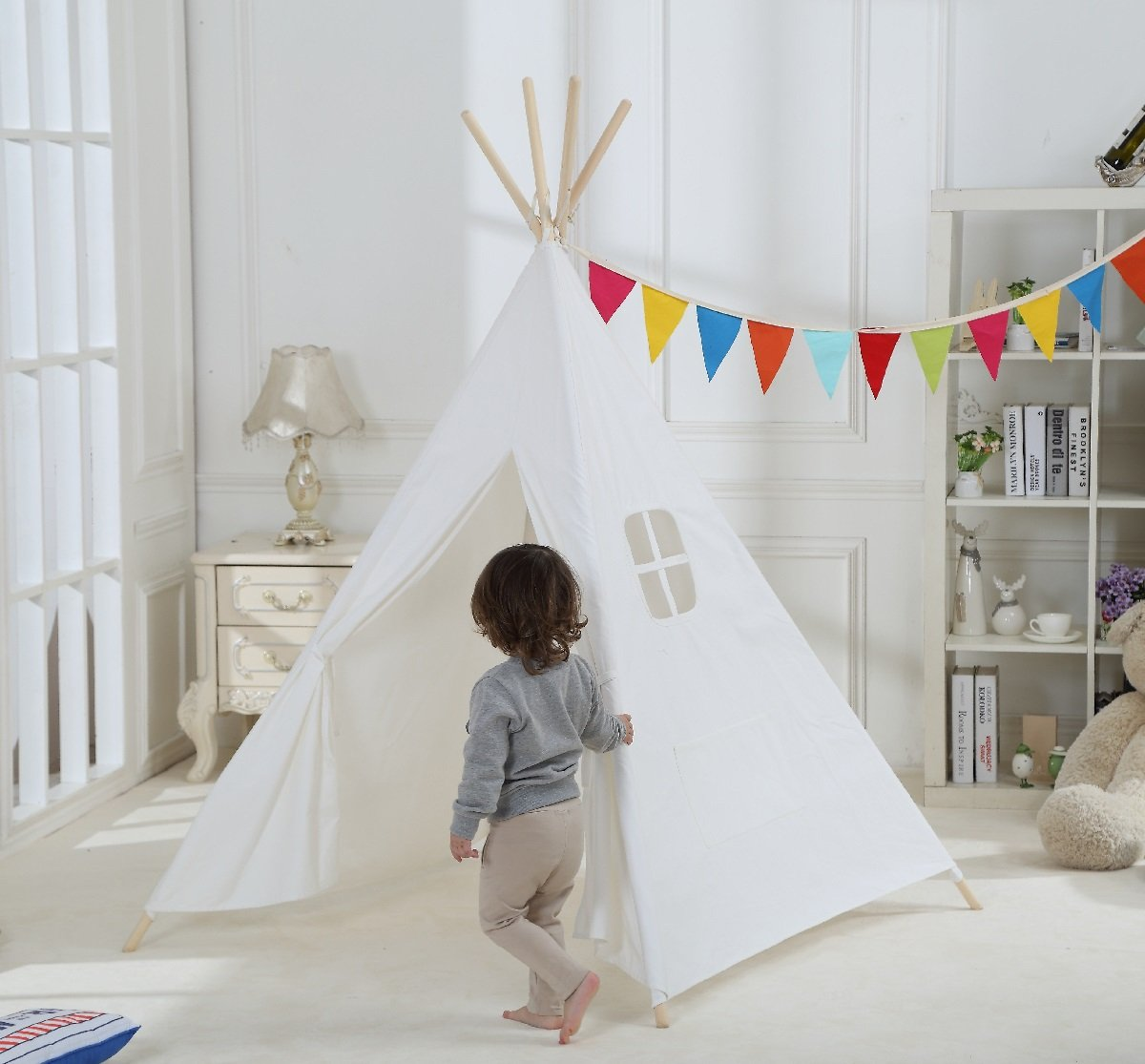 Amazon.com: Dream House Classical Indoor Solid White Pure Cotton Canvas  Playhouse Indian Teepee Tent For Toddler Kids To Read And Hideaway: Toys U0026  Games