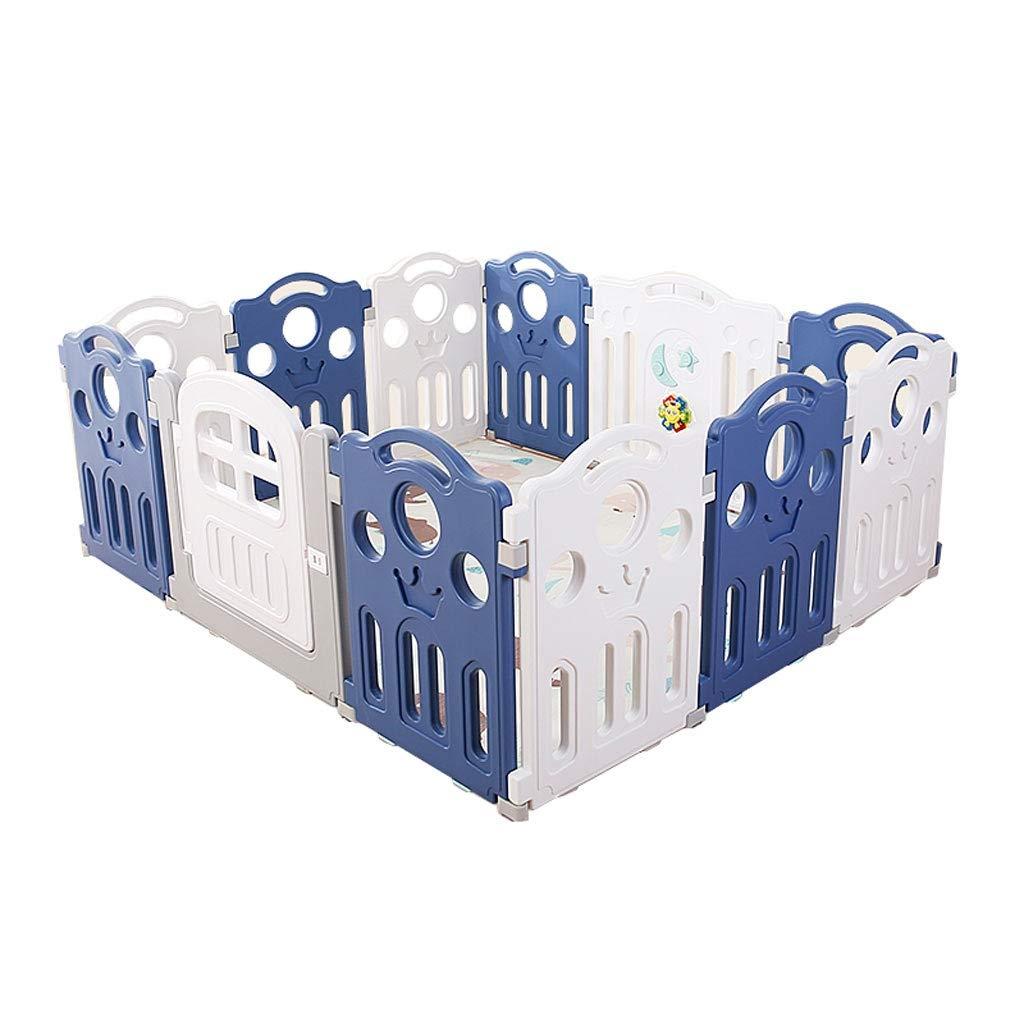 CYLQ ベビープレイフェンス、キッズ安全活動スペース、複数の組み合わせ、折りたたみ式ポータブル屋内屋外幼児アンチフォールフェンス、青と白 (色 : C)  C B07RWPWH45