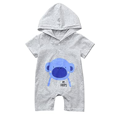 858c83ecf508 Amazon.com  Lurryly Newborn Baby Boys Girls Cartoon Hoodie Clothes Romper  Jumpsuit 0-24 M  Clothing