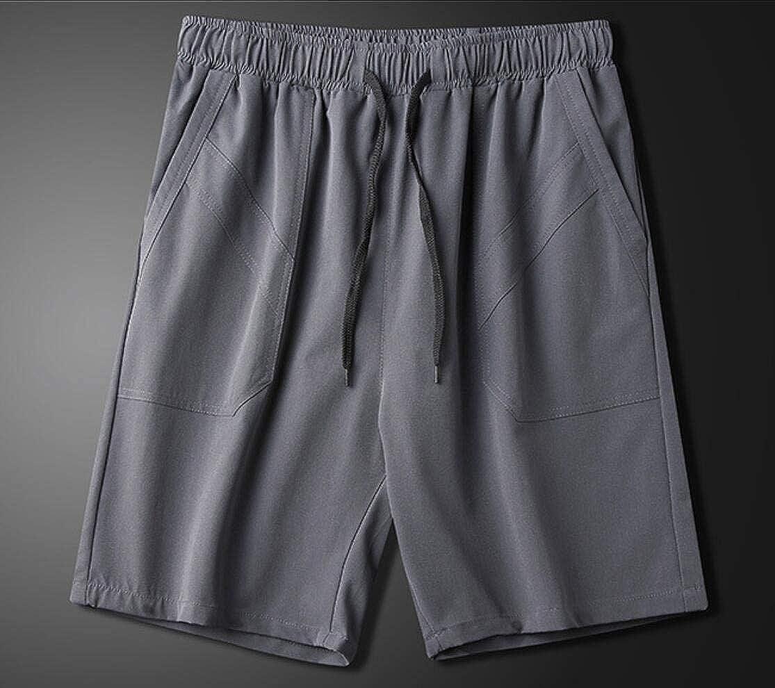 Vska Men 100/% Cotton Solid Shorts Summer Sweatpants Beach Trousers