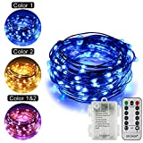 ErChen Battery Powered Dual-Color Led String Lights, 33FT 100 Leds Color Changing Dimmable 8 Modes Copper Wire Fairy Lights with Remote Timer for Indoor Outdoor Christmas (Warm White, Blue)