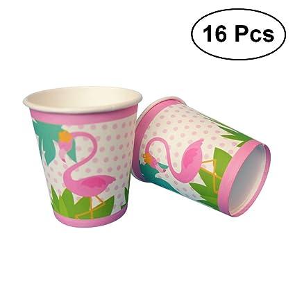Luoem Juego De Vajilla Desechable Flamingo Vasos De Papel