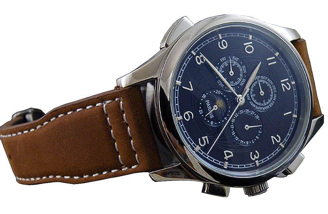 44 mm Fanmisブラックダイヤルシルバー番号Auto Mechanical multi-funtionムーンフェーズメンズブラウンレザー腕時計 B00KBY6202