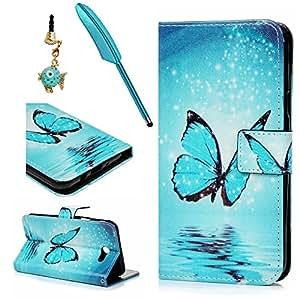 Galaxy J72017caso, Samsung J7caso, funda de piel sintética PU Funda de piel con tapa bumper de TPU función atril magnético con tarjetero soportes para Samsung Galaxy J72017versión, Blue Butterfly
