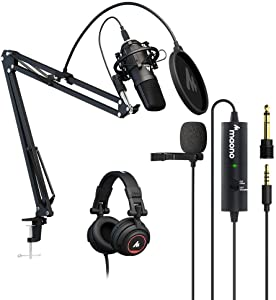 USB Microphone with Studio Headphones, Lavalier Microphone, MAONO AU-100R Bundle Vocal Condenser Cardioid Podcast Mic for Mac and Windows, YouTube, Gaming, Livestreaming, Voice Over