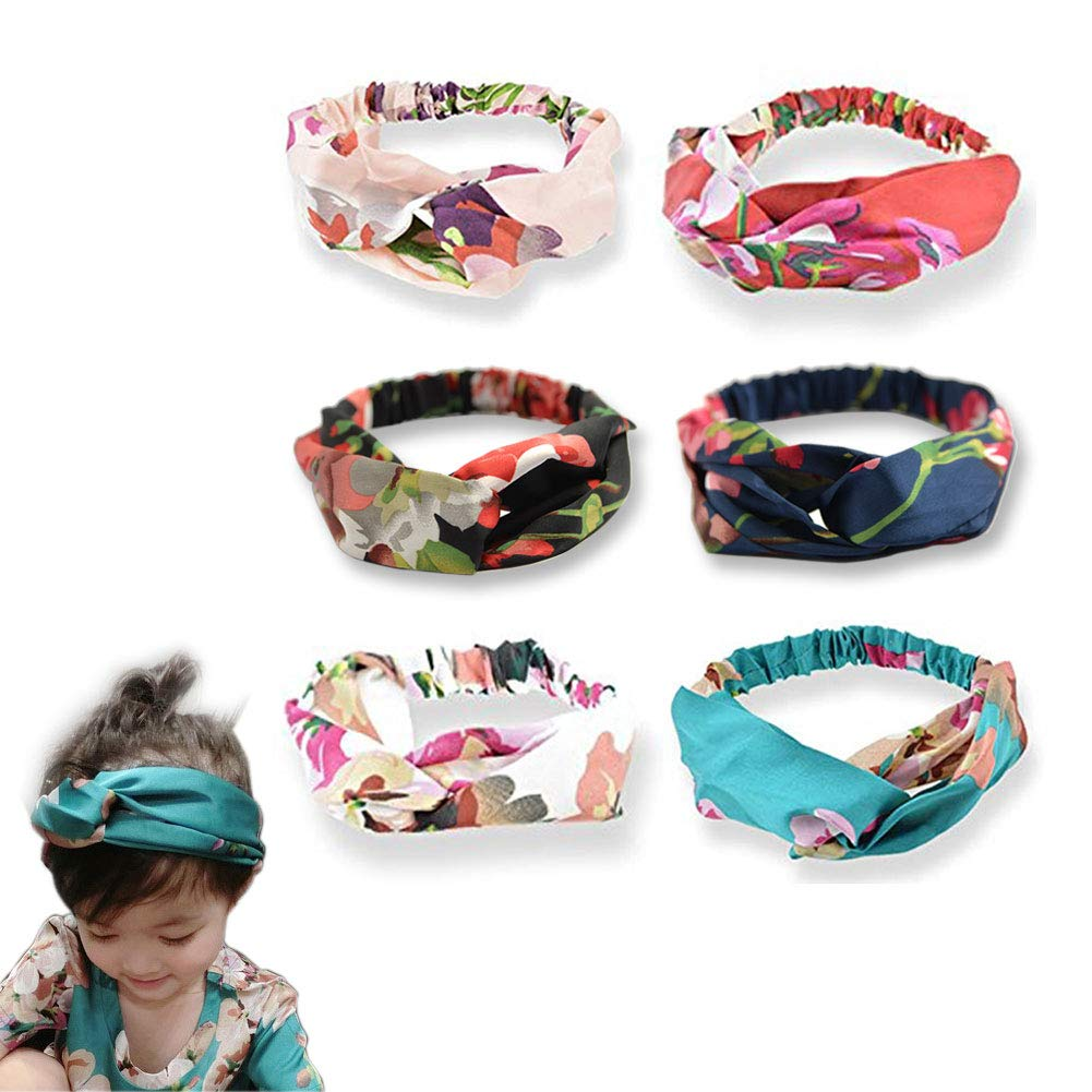 Antorh 6 Pack Womens Vintage Headbands Boho Hairband Elastic Printed Head Wrap Stretchy Moisture Turban Floral Twisted Knotted Cute Hair Bands