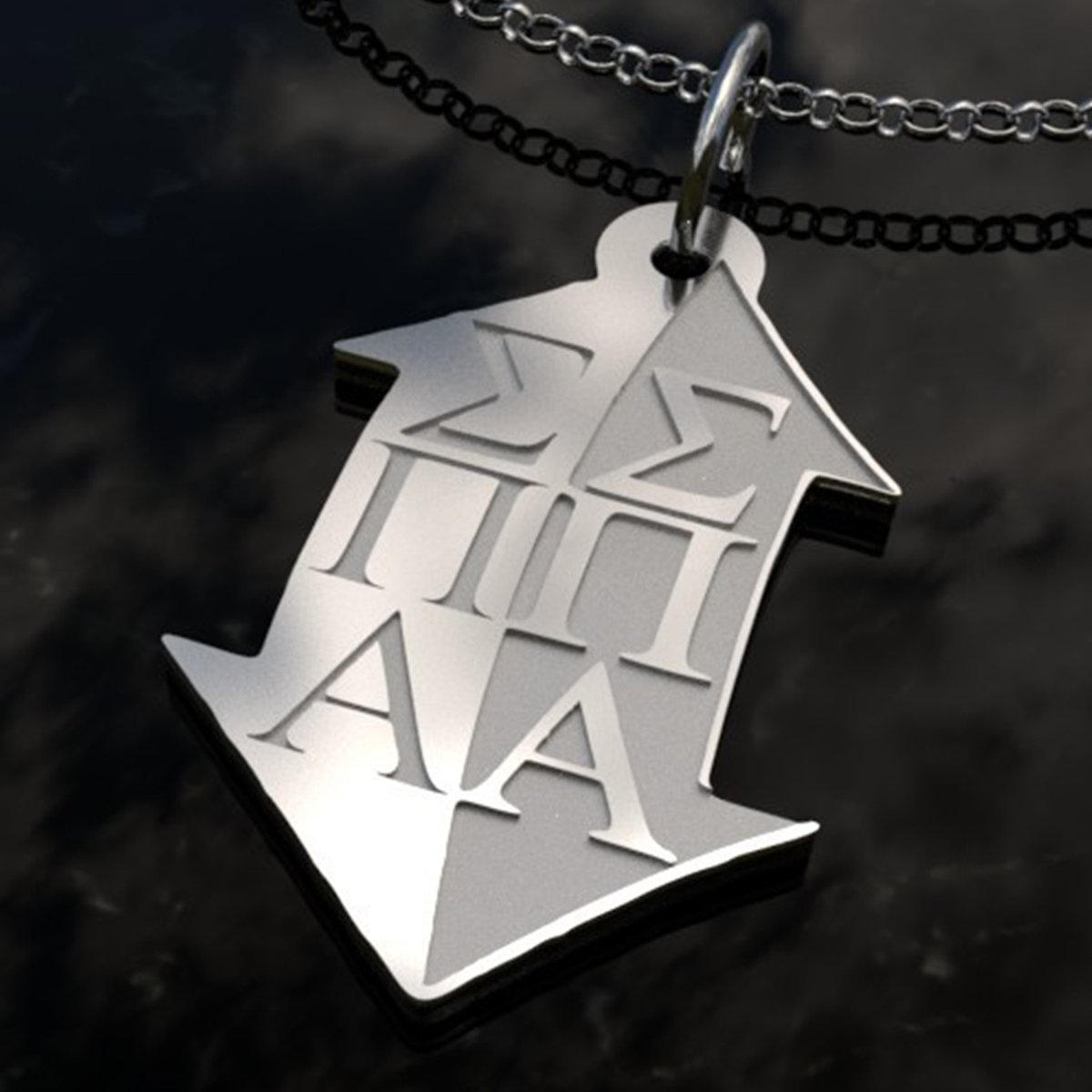 Sisters Pledges House Gift 925 Sterling Silver Sigma Pi Alpha Sorority Freeform Pendant Necklace