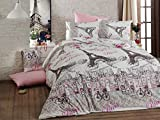 LaModaHome 3 Pcs Luxury Soft Colored Full and Double Bed Size Bedroom Bedding 100% Cotton Ranforce Quilt Duvet Cover Set Paris Cafe Restaurant Eiffel Bicycle Chair Table Pink Rose
