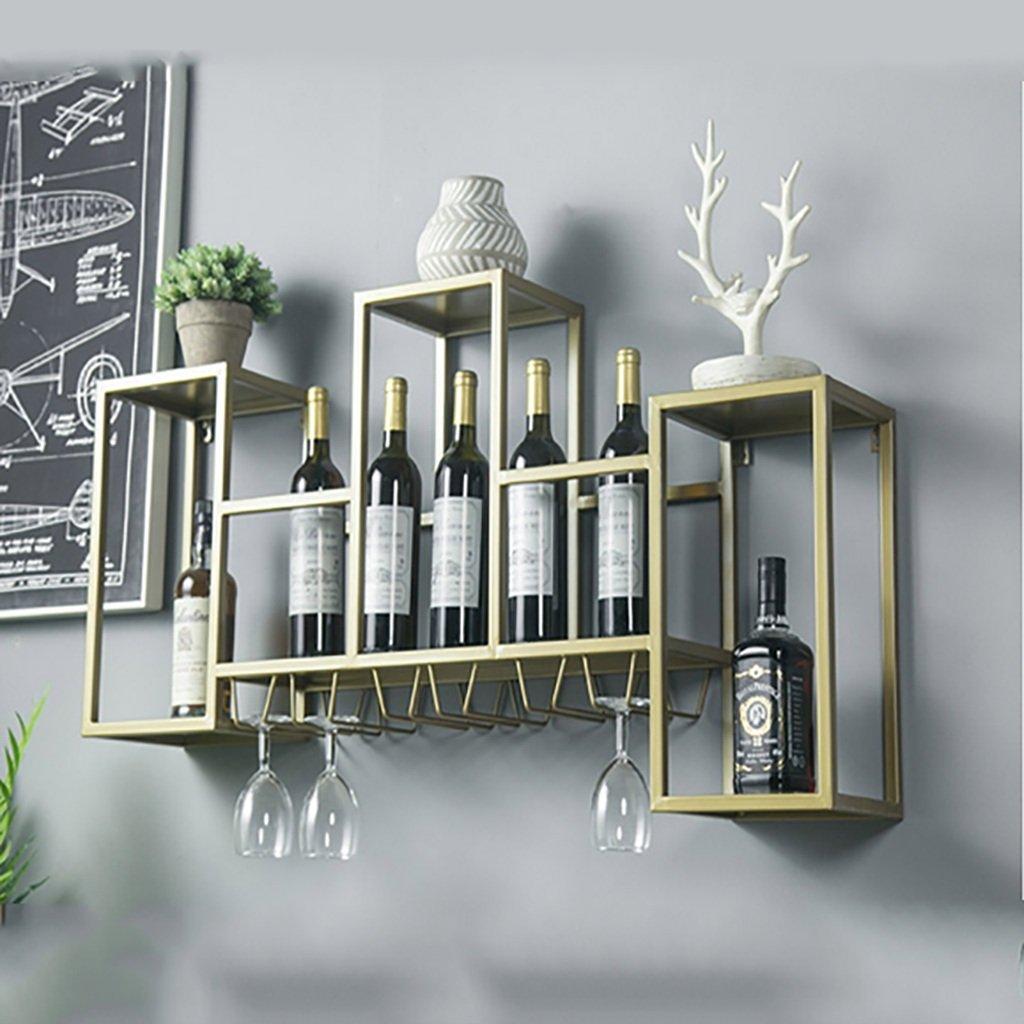 Zfusshop Wine Rack/glass Holder/European Vintage Iron Hanging Wine Cabinet/bar Wine Rack Ledge Kitchen, bar, restaurant (Color : B) by Zfusshop