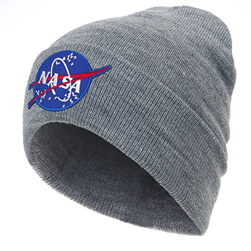 Hat NASA Soft Beanie Meatball ililily Over Grey Logo Knit Embroidery Ribbed Fold g67xnf1v