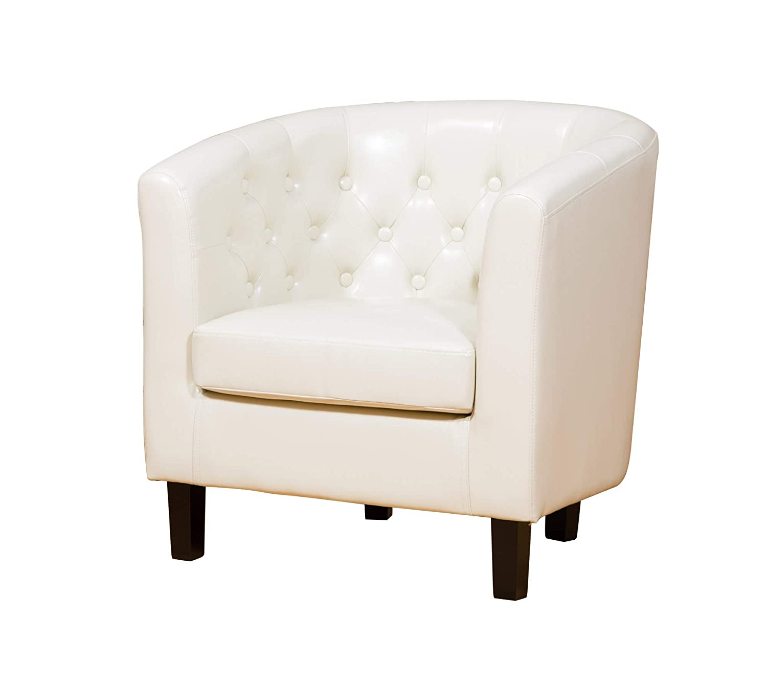 Sofa Collection Chesterfield Style Beauvais Tub Chair with Studded Back, Bonded Leather, Cream, 70 x 76 x 73 cm 5060363584888