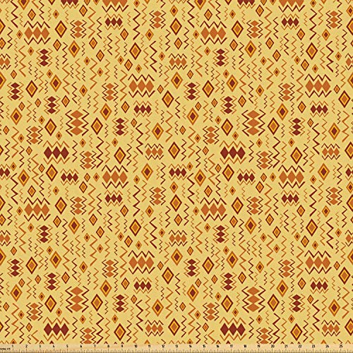 Ambesonne African Fabric by The Yard, Random Doodles Pattern Herringbone Indigenous Art Folk Features, Microfiber Fabric for Arts and Crafts Textiles & Decor, Brown Marigold Mustard from Ambesonne