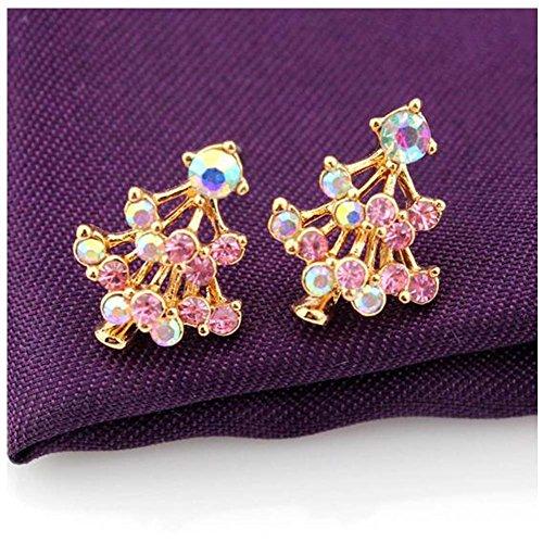 Elakaka Women's Multi-color Christmas Tree Dimonds Earrings(2) (Posh Spice Costume)