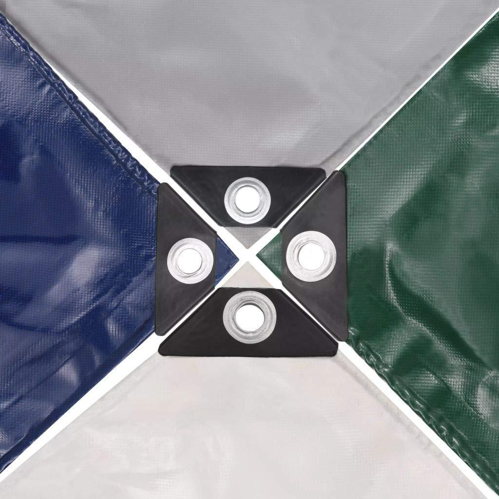 Lona 650 g//m/² con Revestimiento de PVC Impermeable y Resistente a Rayos UV y Humedades 3x3 m Gris Tidyard