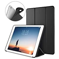 New iPad 2017 iPad 9.7 Inch Case, DTTO Ultra Slim Lightweight Smart Case Trifold Cover Stand with Flexible Soft TPU Back Cover for iPad Apple New iPad 9.7-inch [Auto Sleep/Wake] - Black