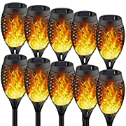 #LightningDeal Staaricc 10Pack-12LED Solar Lights Outdoor, Solar Tiki Torches with Flickering Flame for Halloween&Christmas, Waterproof Festive Decoration&Romantic Landscape Lights for Garden Pathway-Auto On/Off
