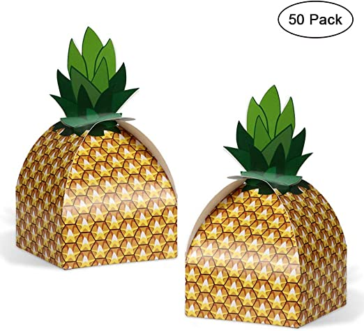 Aparty4u 24pcs Pineapple Favors Boxes Luau Tropical Hawaiian Party Themed Candy Gift Boxes Bag for BBQ Summer Beach Pool Fruit Party Supplies