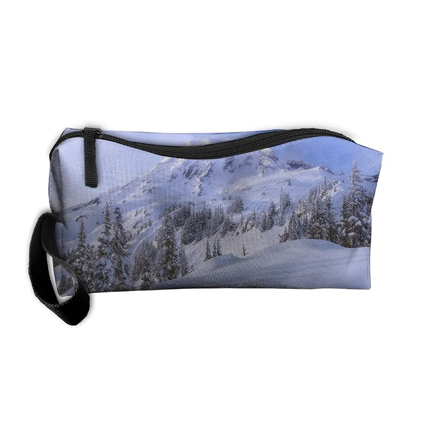 Snow Mountain Sky At Winter Travel Clutch Pouch For Women Cosmetics Case With