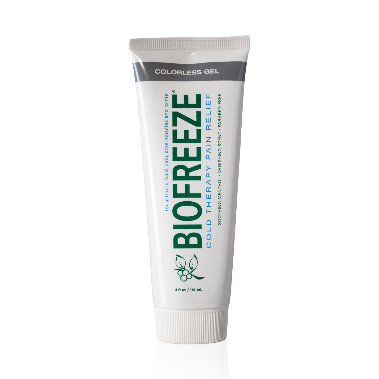 Biofreeze Pain Relief Gel, 4 oz. Tube, Cooling Topical Analgesic for Arthritis, Fast Acting and Long Lasting Pain Reliever Cream for Muscle Pain, Joint Pain, Back Pain, Colorless Formula, 4% Menthol