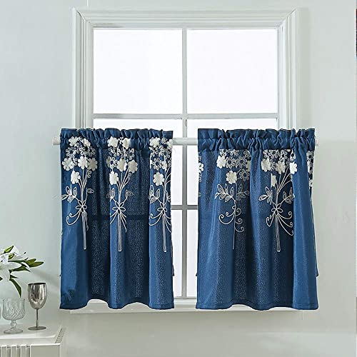 Popuid Cafe Kitchen Bedroom Valance Curtains for Windows Stylish Floral Jacquard Curtain Tops Home Furnishings Decor Navy, W54 x L24