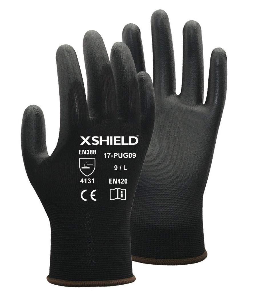 XSHIELD 17-PUG,Polyurethane/Nylon Safety WORK Glove,BLACK,12 Pairs (Large) by XSHIELD