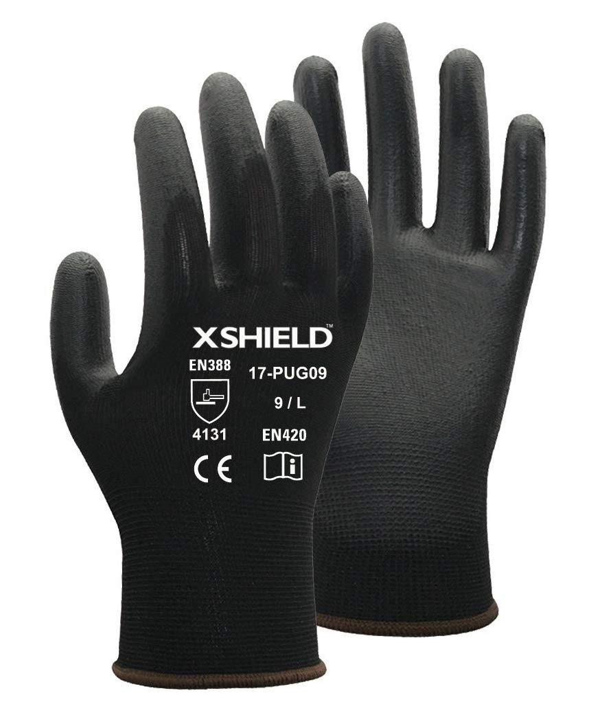 XSHIELD 17-PUG,Polyurethane/Nylon Safety WORK Glove,12 Pairs (X-Large, White) 1