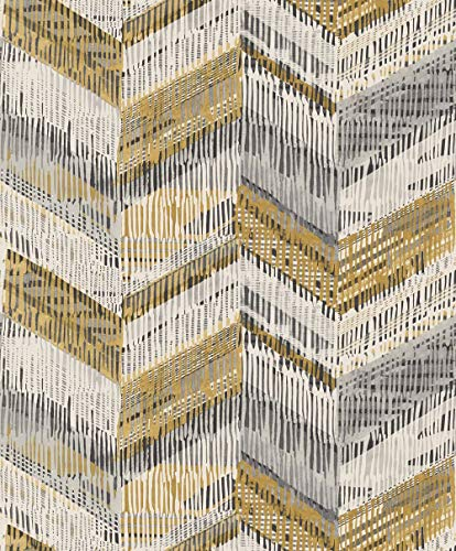 Arthouse Chevron Weave Wallpaper Ochre