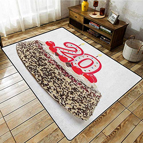 Mad Custom Cherry - Skid-Resistant Rug,20th Birthday,Sweet Cherries and Sprinkles on a Birthday Party Cake 20 and Young Photo,Ideal Gift for Children,4'7