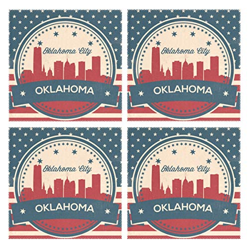 LUCASE LEMON ALEX Oklahoma City Retro Skyline Set of 4 Placemats Heat-Resistant Table Mat Washable Stain Resistant Anti-Skid Polyester Place Mats for Kitchen Dining Decoration -