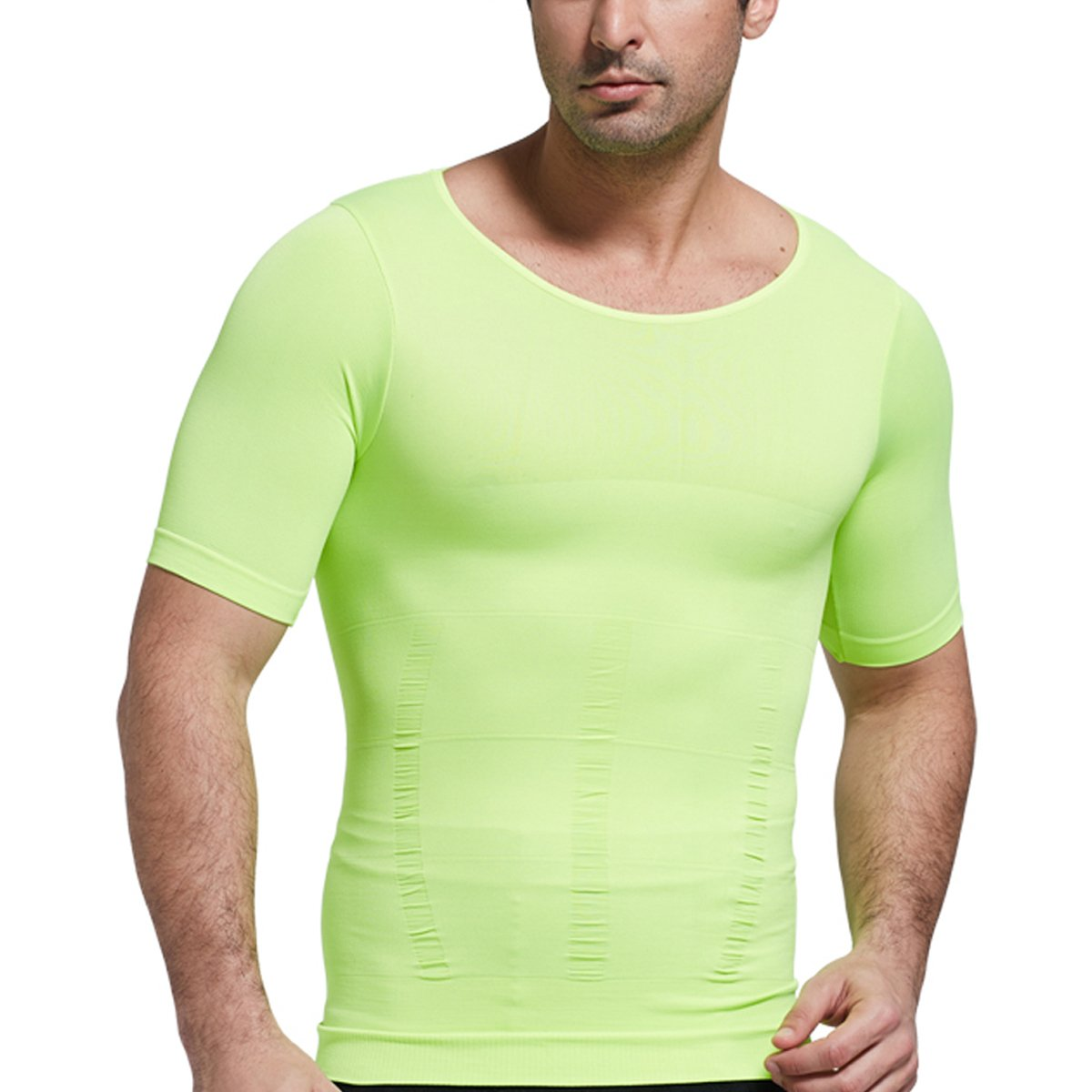 Mens Short Sleeve Shirts Slimming Vest Warm Instant Weight Loss Belly Fat Love Handles Remover Body Shaper Firms Abdomen Back Support Compression Fit