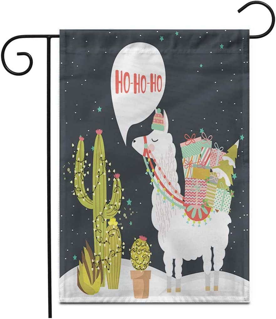"Adowyee 12""x 18"" Garden Flag Red Lama Merry Christmas Fun Alpaca Cactus Animal Hat Outdoor Double Sided Decorative House Yard Flags"