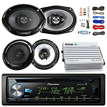Pioneer DEH-S6000BS Car CD Player Receiver Bluetooth USB AUX Radio Bundle Combo With 2x Kenwood 6.5 2-Way Black Car Coaxial Speakers + 2x 6x9 Inch 3-Way Speaker + 4-Channel Amplifier + Amp Kit