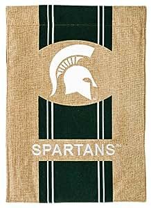 Michigan State Spartans de Universidad rayas Logo Burlap jardín Bandera