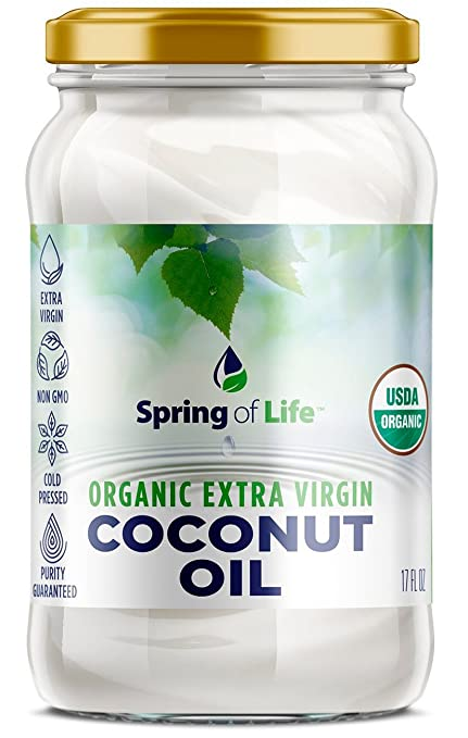 Spring of Life Organic Extra Virgin Coconut Oil - Non-GMO, Cold Pressed, Purity Guaranteed! Contains 62% MCTs