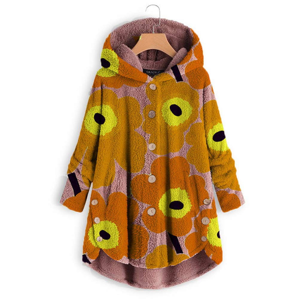 Pandaie Woemns Fluffy Fleece Jacket Hooded Coat Flowers Buttons Hoodie Pullover Winter Plush Sweatshirt Jackets Orange by Pandaie