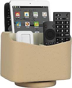 HofferRuffer Spinning Remote Control Holder, Remote Controller Holder, Remote Caddy, Media Storage Organizer, Spinning Remote Control Organizer, PU Leather (Beige)