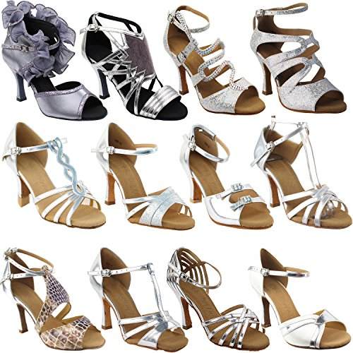 (GP 50 Shades of Silver Dance Dress Shoes: 5008Mirage, Party Sparkle & Ultra Silver, 3' Heel, Size 7 1/2)