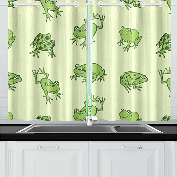 Yumoing Funny Frog Animal Kitchen Curtains Window Curtain Tiers For Café Bath Laundry Living Room Bedroom 26 X 39 Inch 2 Pieces Home Kitchen