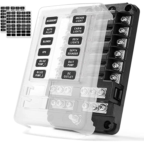 MICTUNING 12-Way Fuse Block Box with LED Indicator 12V//24V 12-Circuit Blade Fuse Holder with Waterproof Protection Cover for Automotive Car Boat Marine SUV RV Van