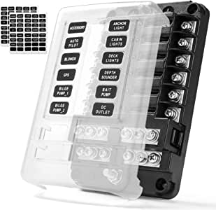 MICTUNING Caja de Bloque de Fusibles de 12 Circuitos, Portafusibles de Cuchillas de 12 Vías, con Indicador LED Cubierta de Protección Impermeable, para Automóviles, Barcos, SUV.: Amazon.es: Electrónica
