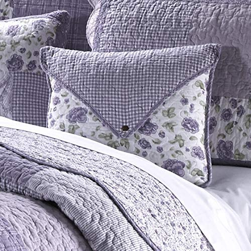 Donna Sharp Throw Pillow – Lavender Rose Contemporary Decorative Throw Pillow with Patchwork Pattern – Square
