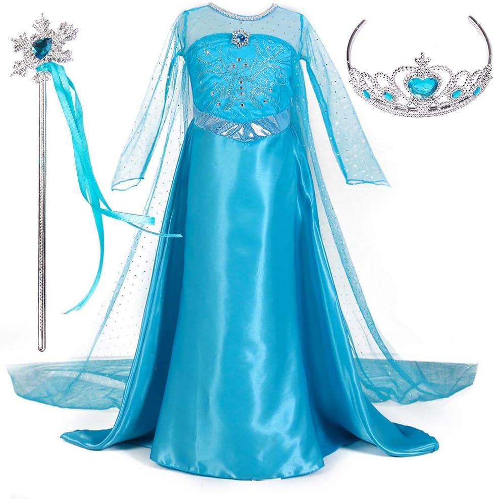 Magogo Vestido de Princesa Elsa Disfraz Ropa para niñas Fiesta de Traje de Carnaval Falda Elegante con Corona y Varita mágica