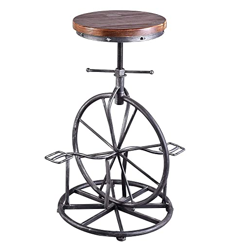 BOKKOLIK Industrial Bar Stool Bicycle Wheel Pedal Footrest Swivel Coffee Chair Pub Counter Height Adjustable 29.5 Wood Seat