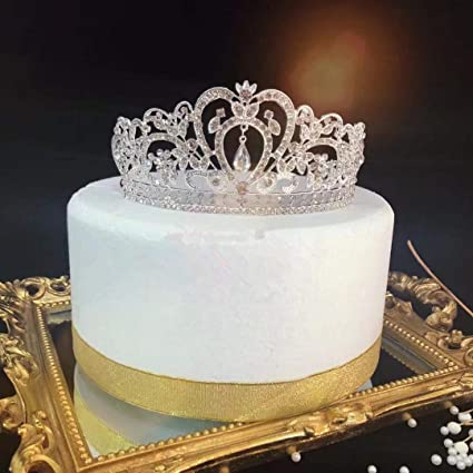 Sensational Gold Crown Cake Topper Vintage Rhinestone Tiara Decoration First Funny Birthday Cards Online Amentibdeldamsfinfo