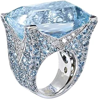 SWPS Novelty Jewelry for Women, Exquisite Ring Sea Blue Sapphire Diamond Jewels Cocktail Party Bridal Engagemen